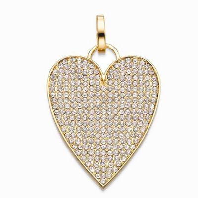 תליון סשה לב מאורך זהב משובץ לבן
