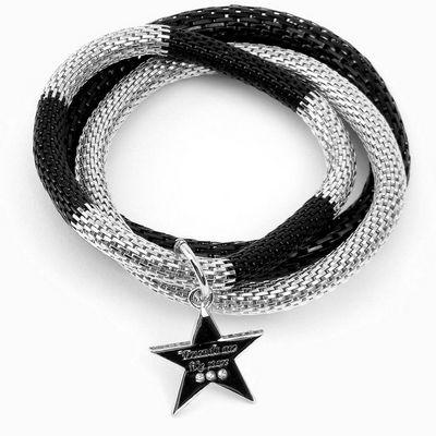 צמיד סשה מטל שחור מקוטע כוכב כסף