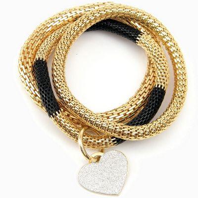 צמיד סשה מטל שחור מקוטע לב קריסטל זהב