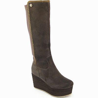נעלי נשים גויה מגף רוקי רשת חום אפור