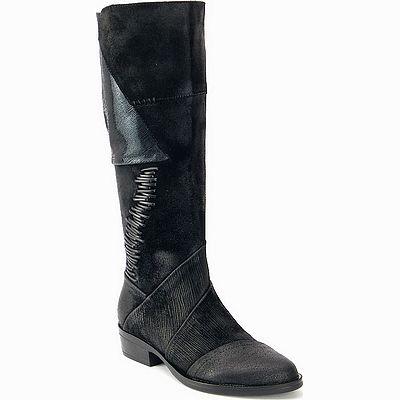 מגפיים לנשים גויה מגף משולב עורות שחור