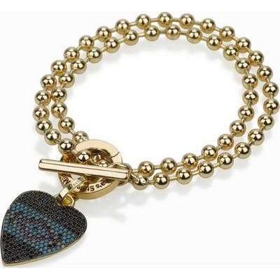 """צמיד סשה זהב 4.5 מ""""מ כפול ותליון לב רוסטיקו קטן"""