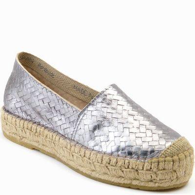 נעליים לנשים עור קלוע כסף