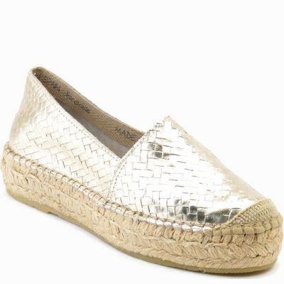 נעליים לנשים עור קלוע זהב