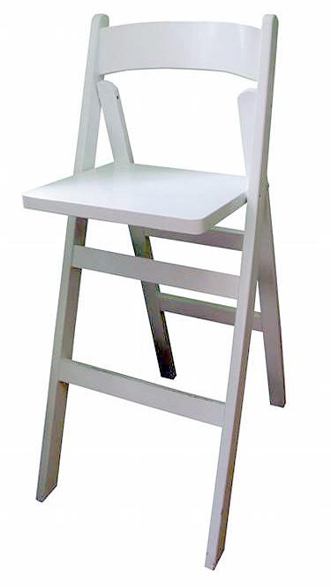 כיסא בר לבן מעץ מתקפל - White folding bar stool
