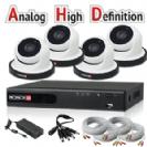 """מערכת מושלמת Dvr Provision 4100 AHD כולל 4 מצלמות כיפה אינפרה 1.3MP AHD  עדשה 3.6 מ""""מ כולל כבלים וספק"""