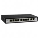 """סוויץ 8 ערוצים PoE 10/100 המאפשר העבת מתח על כבל הרשת בנוסף 2 ערוצי Uplink במהירות 100Mbps סה""""כ 120W"""