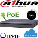 מערכת הקלטה NVR ל 4 מצלמות אבטחה PoE מובנה קצב 80Mbps עד 5MP לערוץ דיסק 1Tb דגם NVR4104H-P