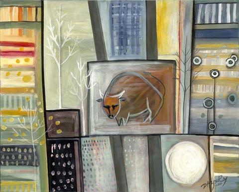 נוף אורבני עם שור-דבורה אזולאי - ציירת