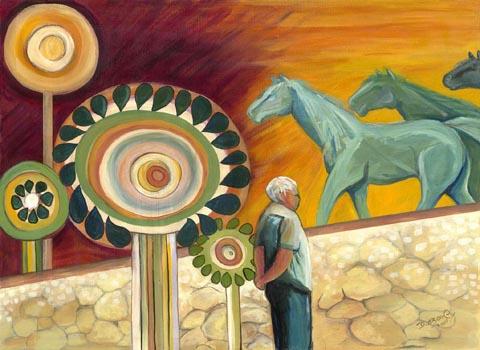 איש  מסתכל על סוסים ירוקים - דבורה אזולאי