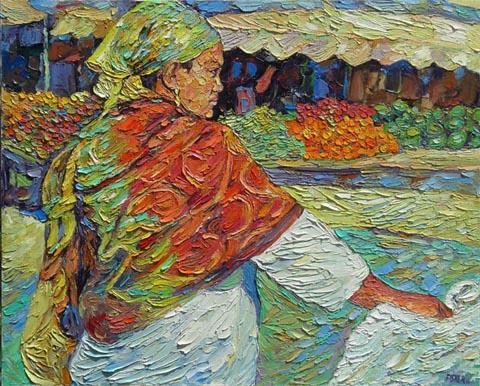 בשוק - אברהם פישר - צייר