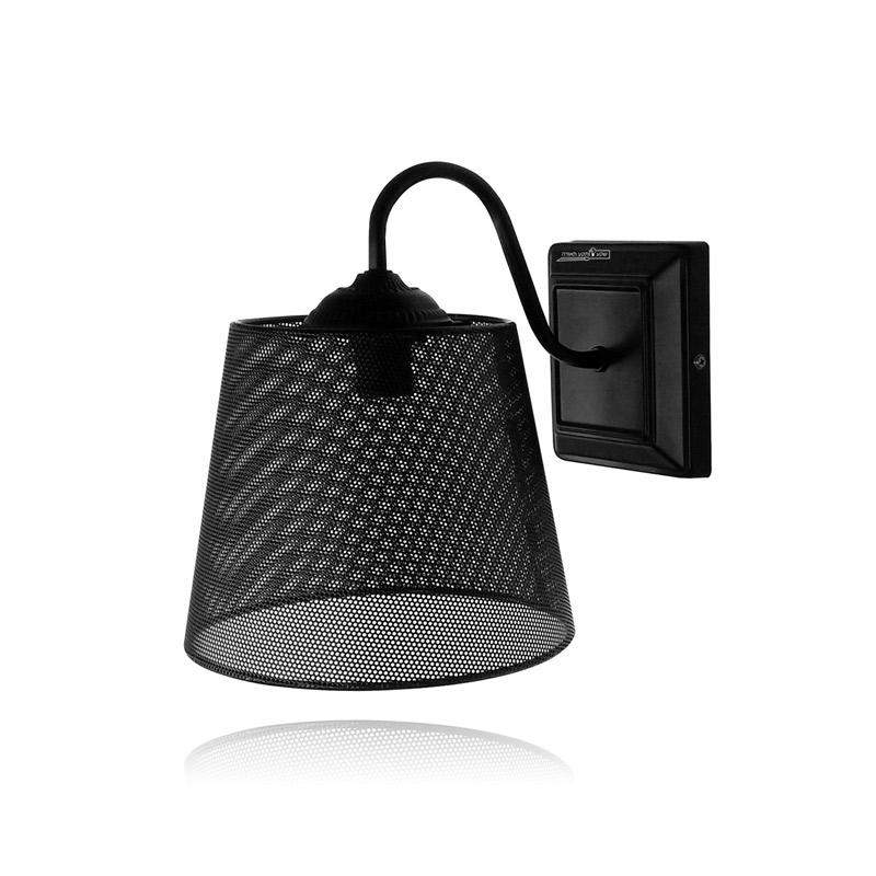 גוף תאורה  כלוב לקיר דקורטיבי שחור