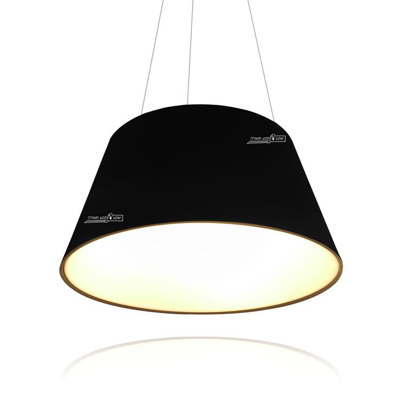 גוף תאורה בצורת קונוס צבע שחור חלק, תאורה לבנה חמה