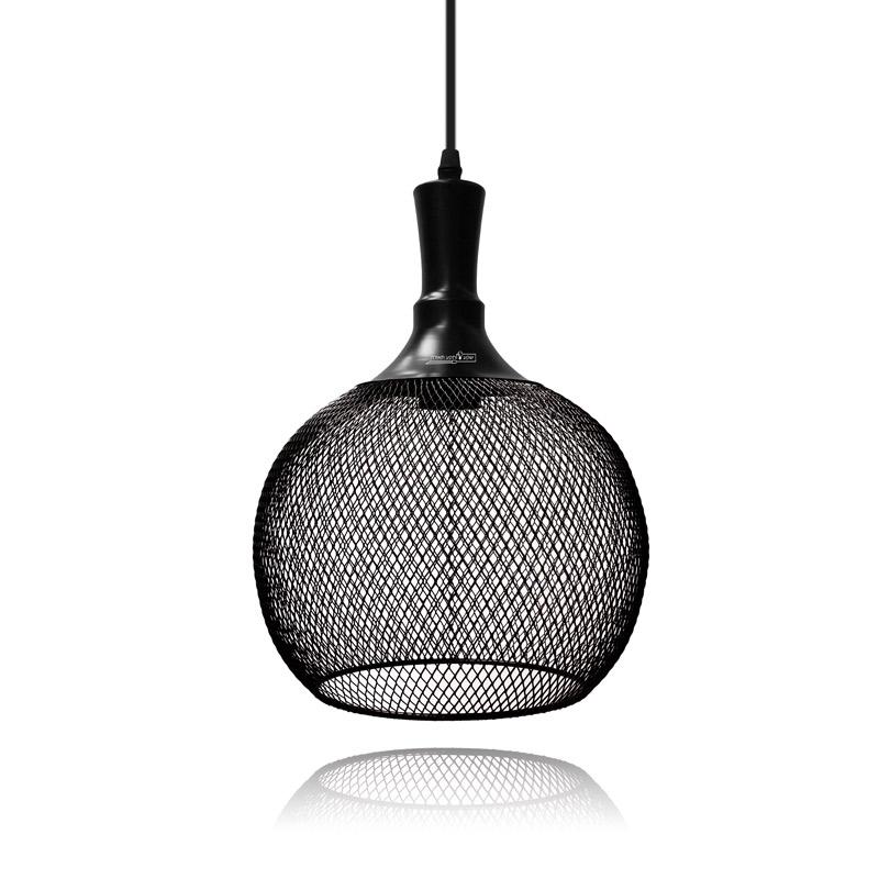 גוף תאורה עגול מרשת מתכתית שחורה לתאורת תצוגה