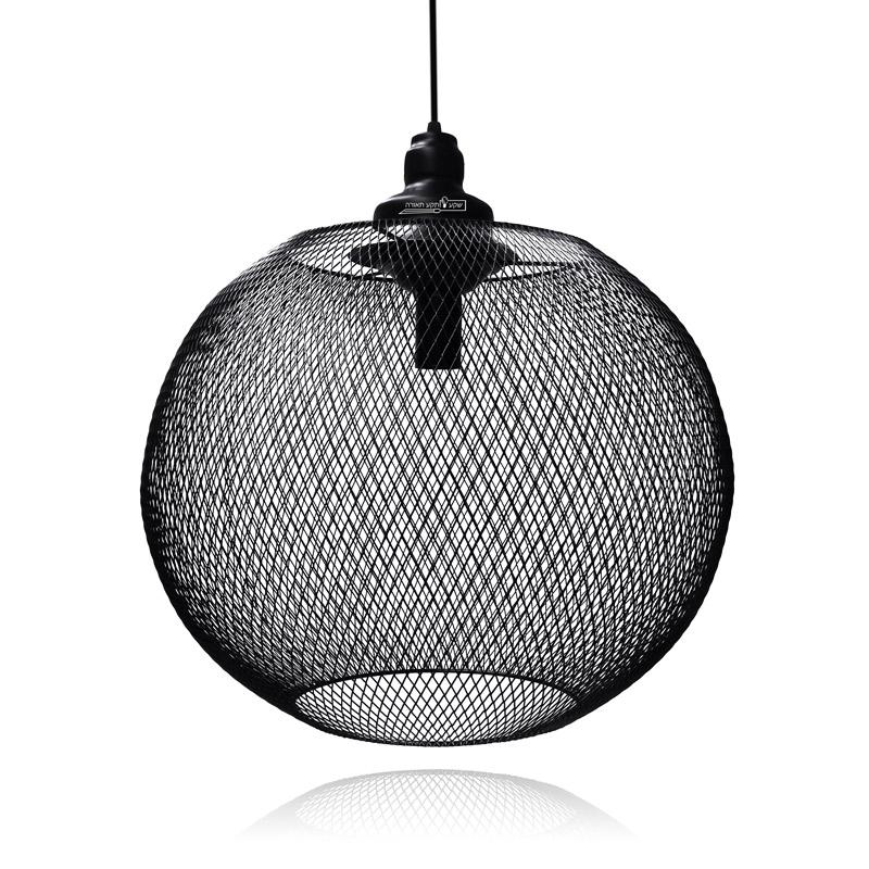 גוף תאורה כלוב רשת שחור לתאורת אווירה