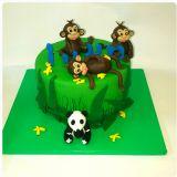 עוגת גונגל עם קופים ופנדה