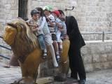 """""""...אשר הלך אריה לביא שם גור אריה, ואין מחריד"""" (נחום, ב´) - משפחה ברוכת-ילדים על פסל האריה סמוך לישיבת הכותל (9/8/09)"""