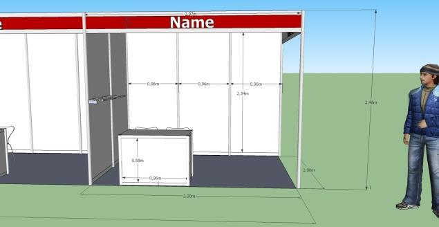 הדמיית ביתן תצוגה 2X3 מטר