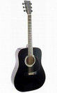 גיטרה אקוסטית מנצ'יני שחורה עם ביינדינג ALBERTO MANCHINI 010A41BKB