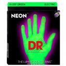 מיתרים לגיטרה חשמלית DR Strings DR NGE9 Neon HiDef Green